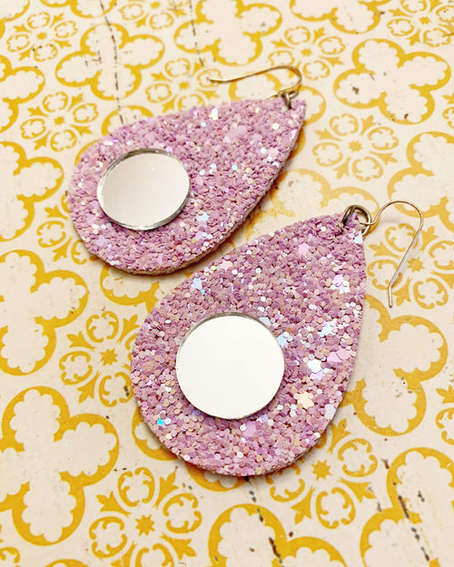 Fairy Dust Purple Mirror Earrings