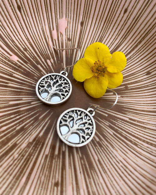 Small Tree of Life Mirror Earrings