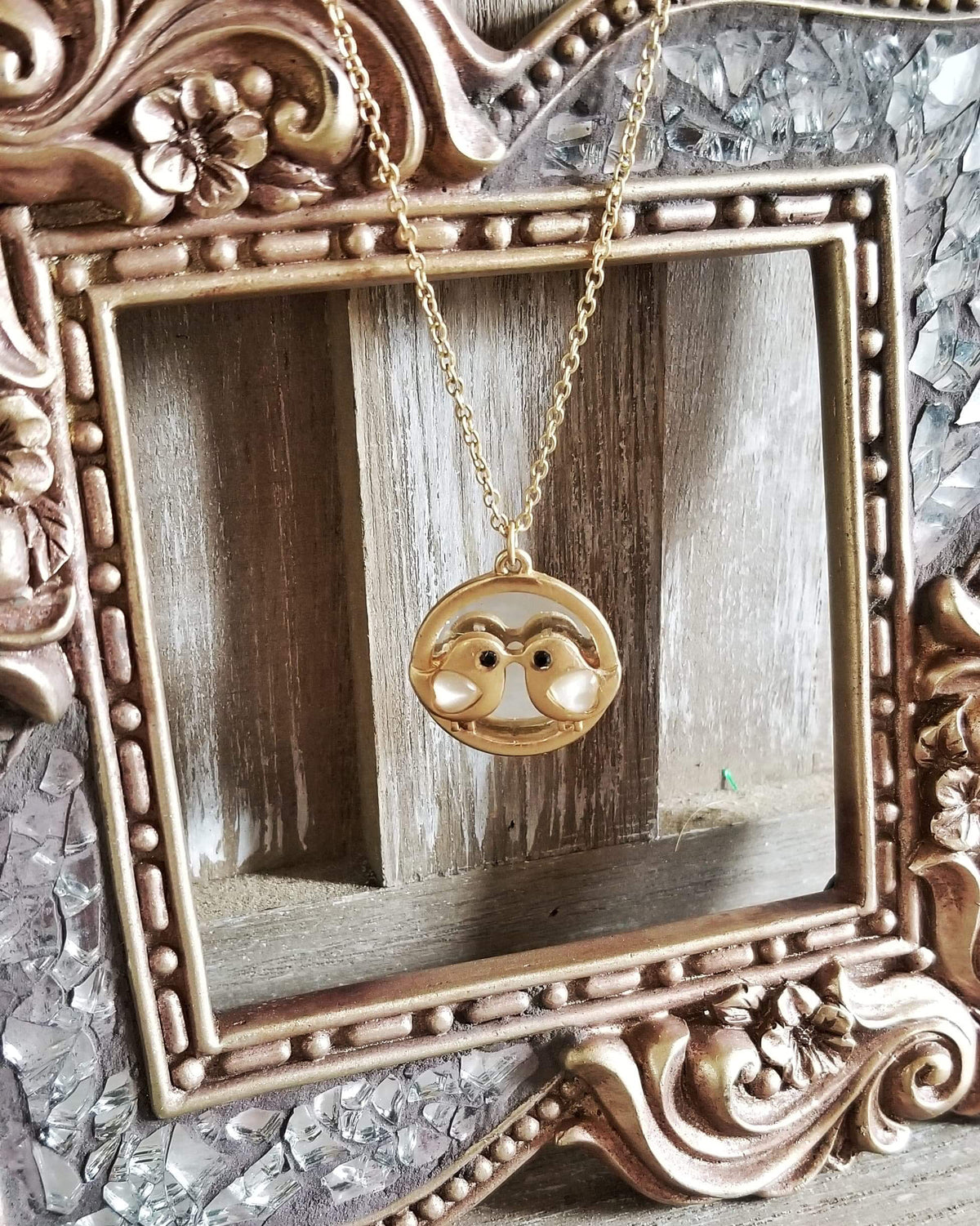 Love Birds Mirror Necklace in Gold