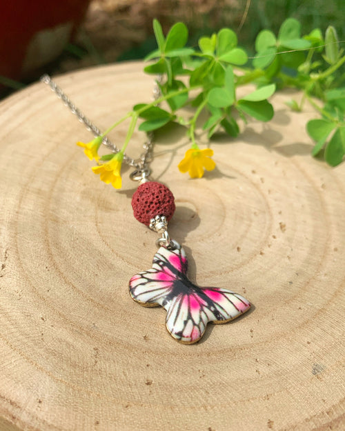 Magenta Butterfly Aromatherapy Necklace