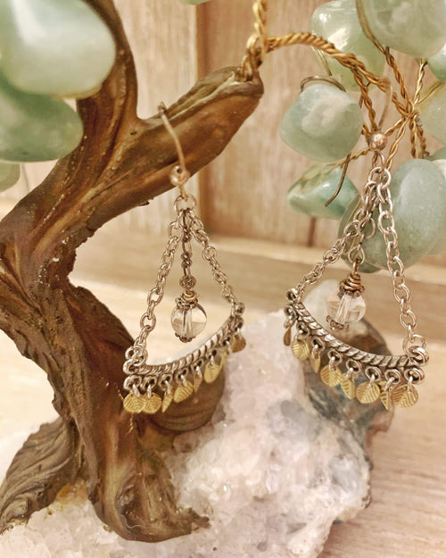 Quartz Leaf Earrings