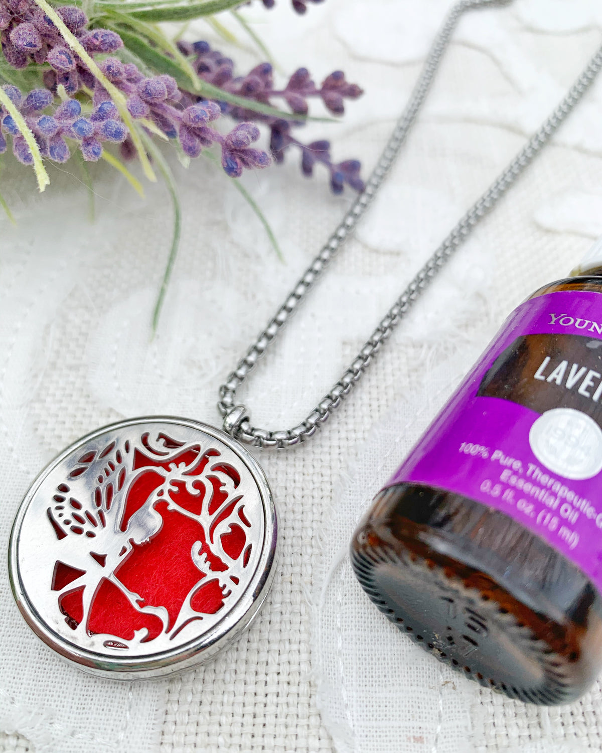 Cherry Red Fairy Aromatherapy Necklace