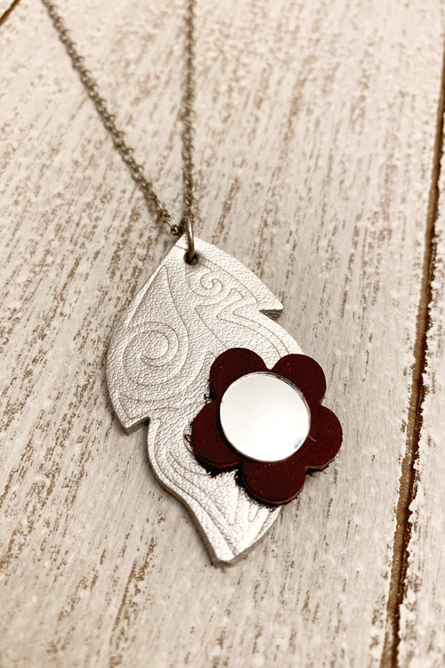 Silver and Burgundy Leather Leaf Mirror Necklace