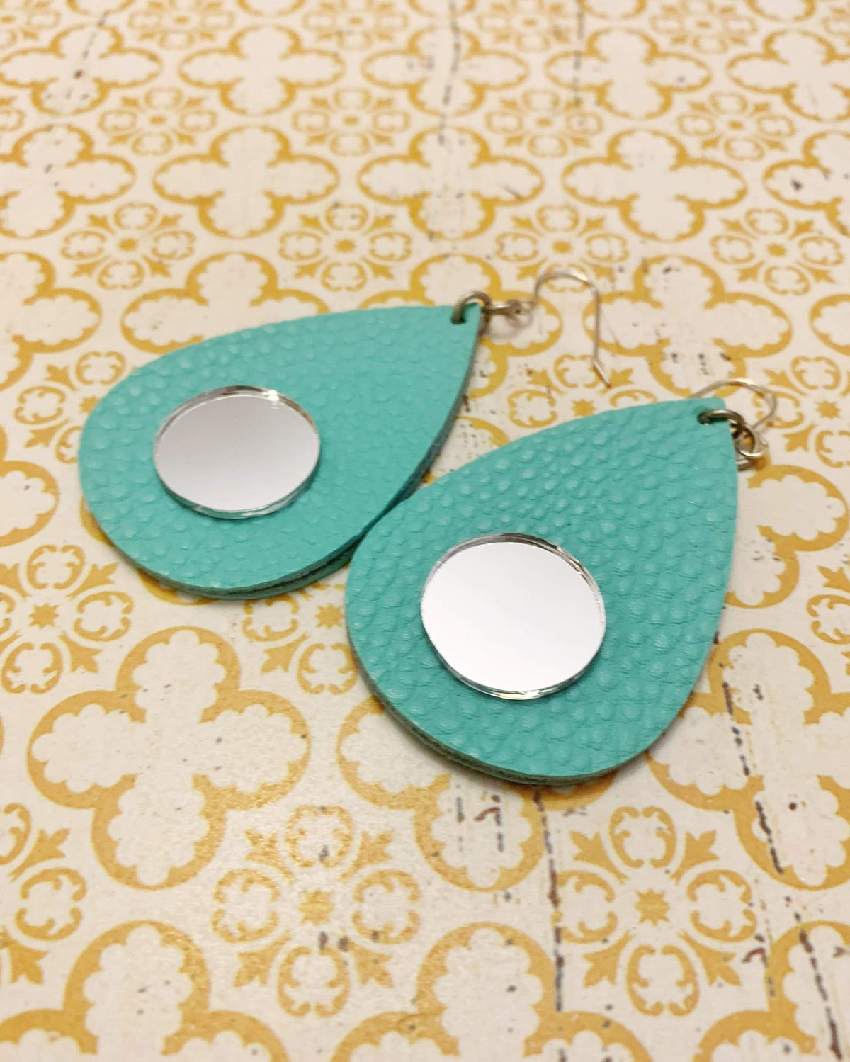 Turquoise Leather Mirror Earrings