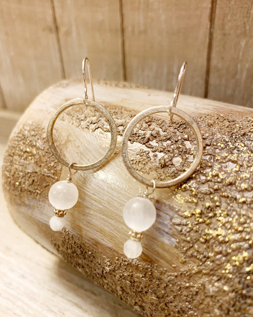Moonstone and Selenite Earrings