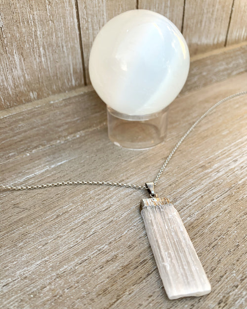 Selenite Bar Pendant Necklace
