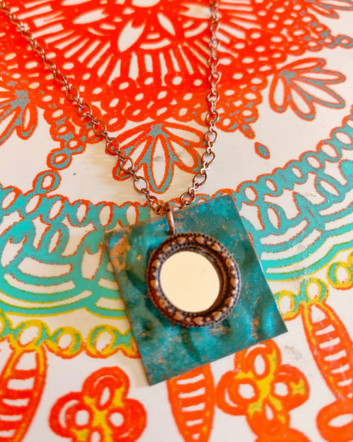 Copper and Teal Metal Mirror Cube Necklace