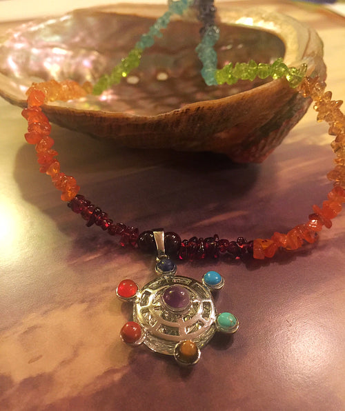 Chakra Mirror Necklace with Gemstones
