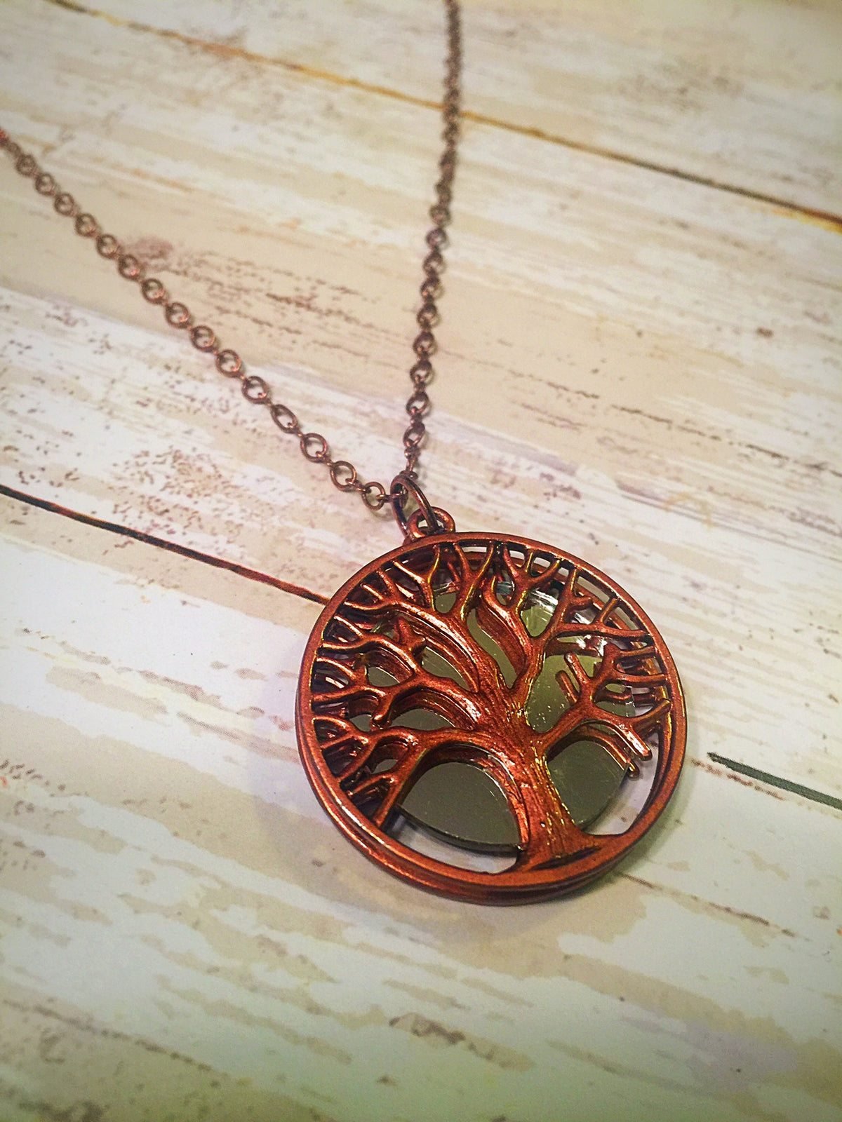 Tree of Life Mirror Necklace In Copper