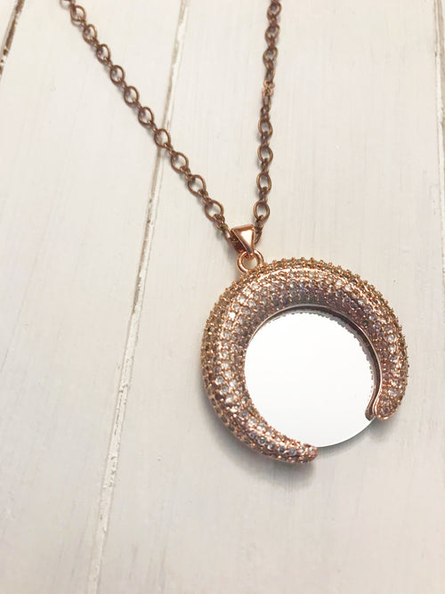 Crescent Copper Mirror Necklace