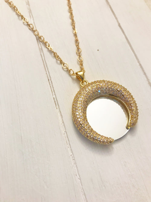 Crescent Gold Mirror Necklace