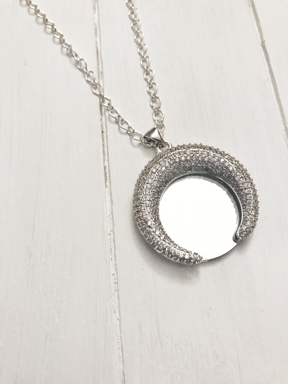 Crescent Silver Mirror Necklace