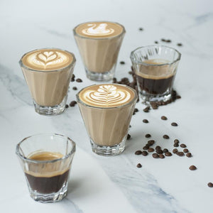 LOVERAMICS 120ML - 180ML TWISTED GLASS CORTADO & CAPPUCCINO 6PCS