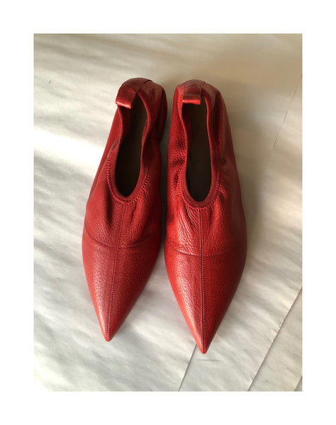 ARCHIVE SALE- Soft Point Toe Flat red calf, size 37.