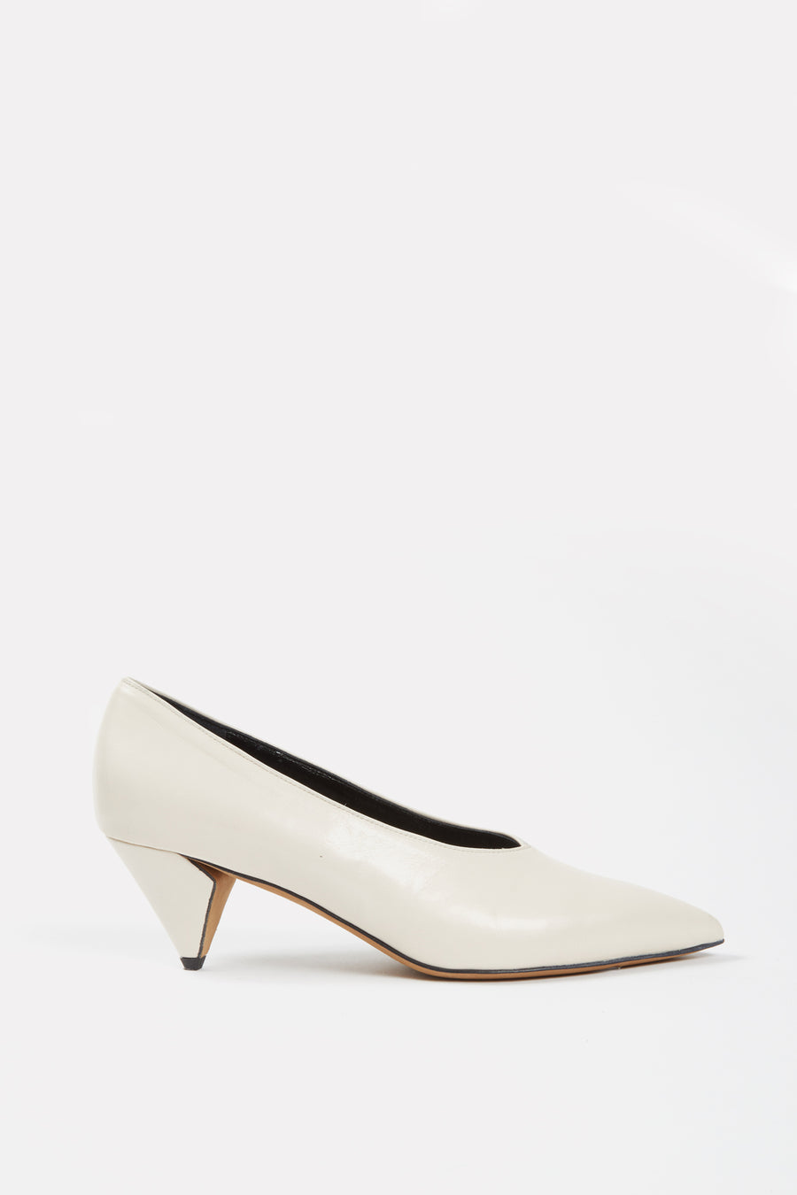 V-Neck Kitten Heel Pump Off-White.
