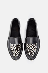 Minimalist Loafer Black and White Leopard.