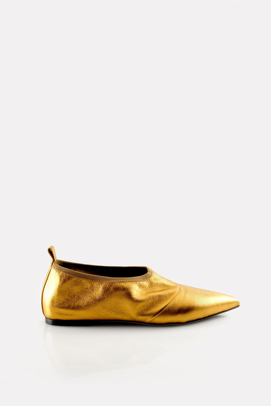 Soft Point Toe Flat Gold Nappa.