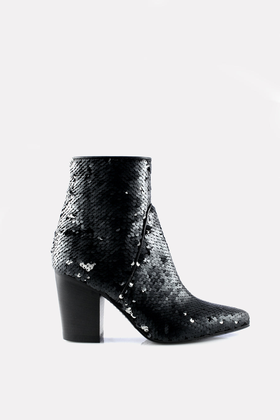 Point Toe Boot Black and Silver Sequins.