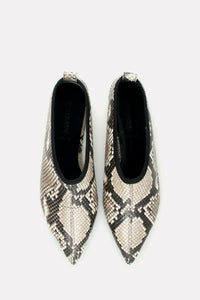 Soft Point Toe Flat Natural Python.