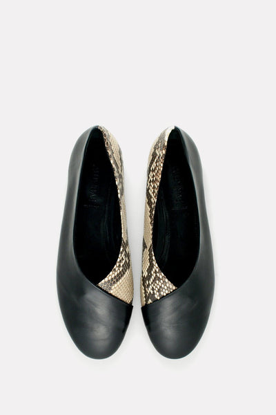 Wrap Ballerina Flat Black and Natural Python.