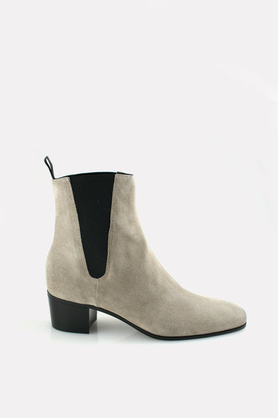 Chelsea Boot on 55mm BStacked Heel Stone Suede.