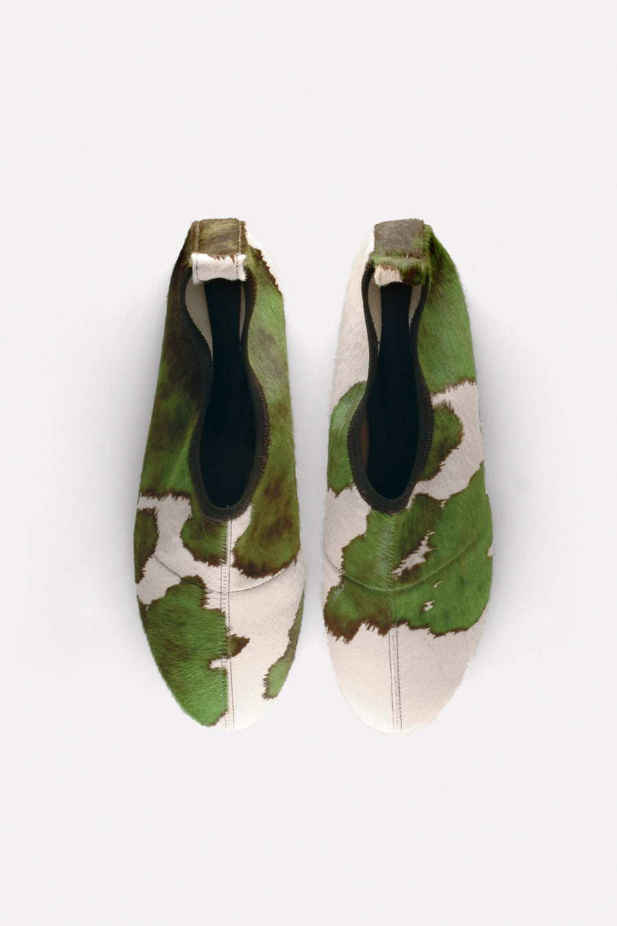Soft Almond Toe Flat in Moss Green Printed Haircalf.