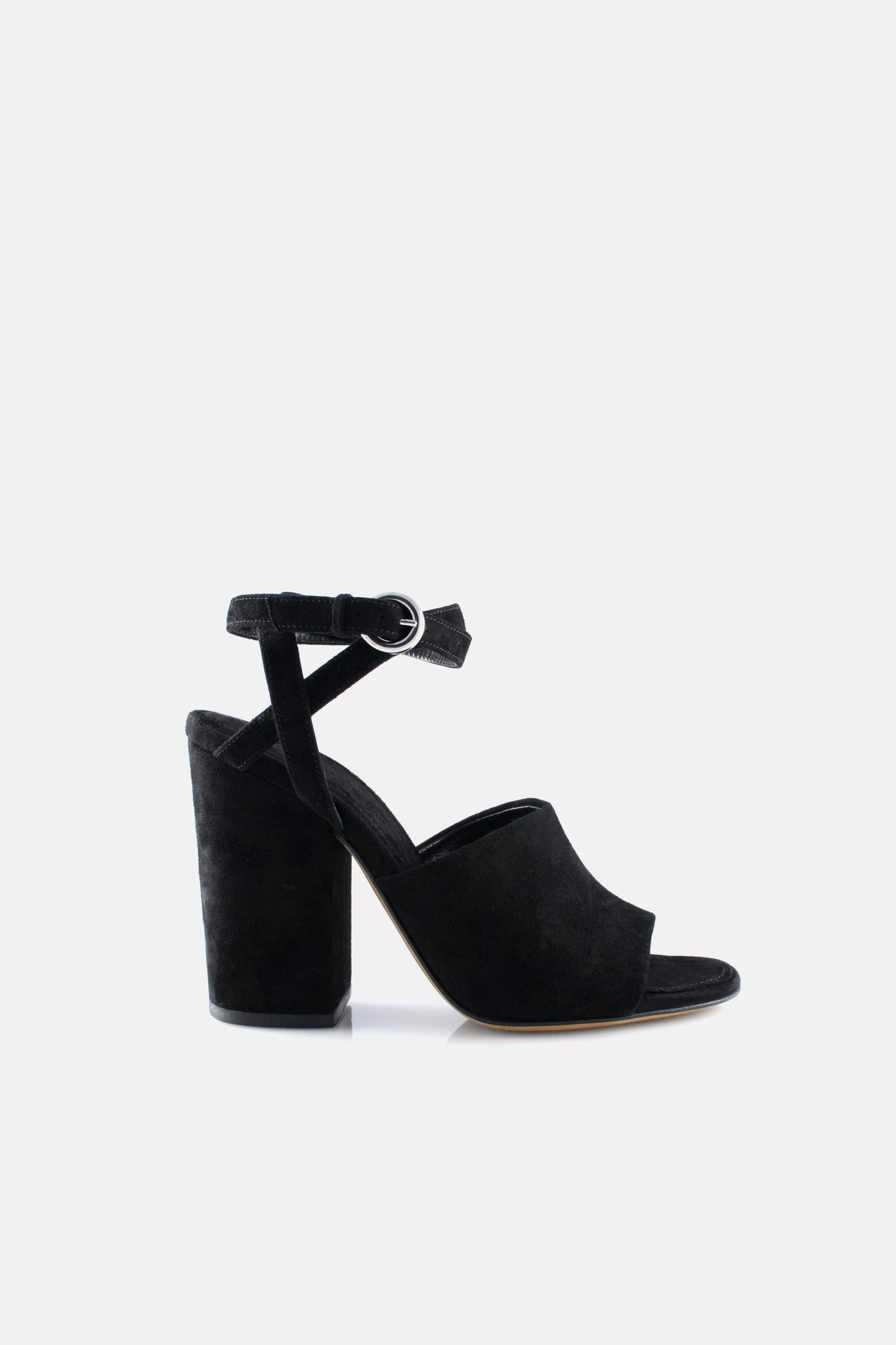 Asymmetrical Ankle Wrap Block Heel Sandal Black Suede.