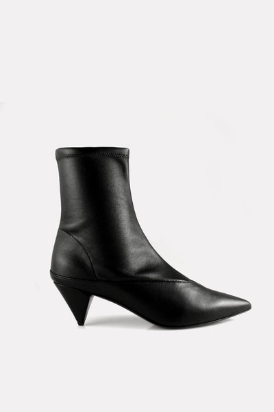 Kitten Heel Stretch Boot Black Nappa