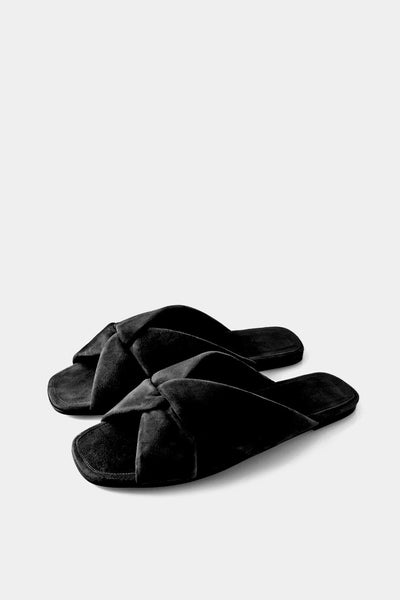 Turban Slide Black Suede