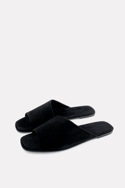 Asymmetrical Curved Slide Black Suede.