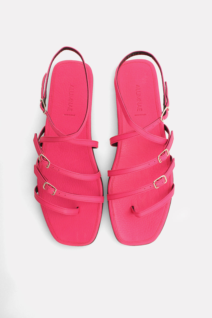 Multi Strap Ankle Wrap Thong Sandal Bright Pink.