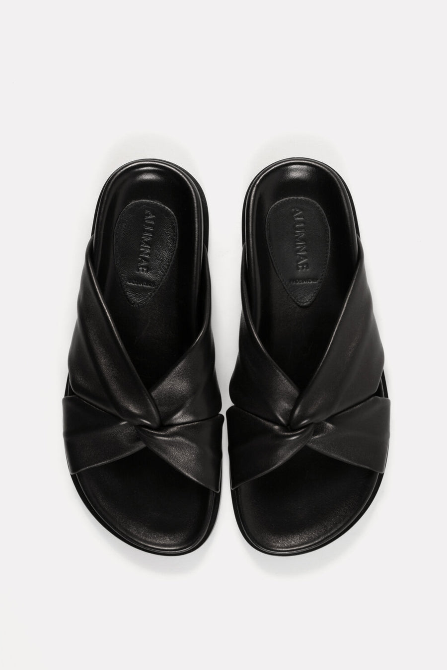 Turban Slide on Molded Footbed Black Nappa.