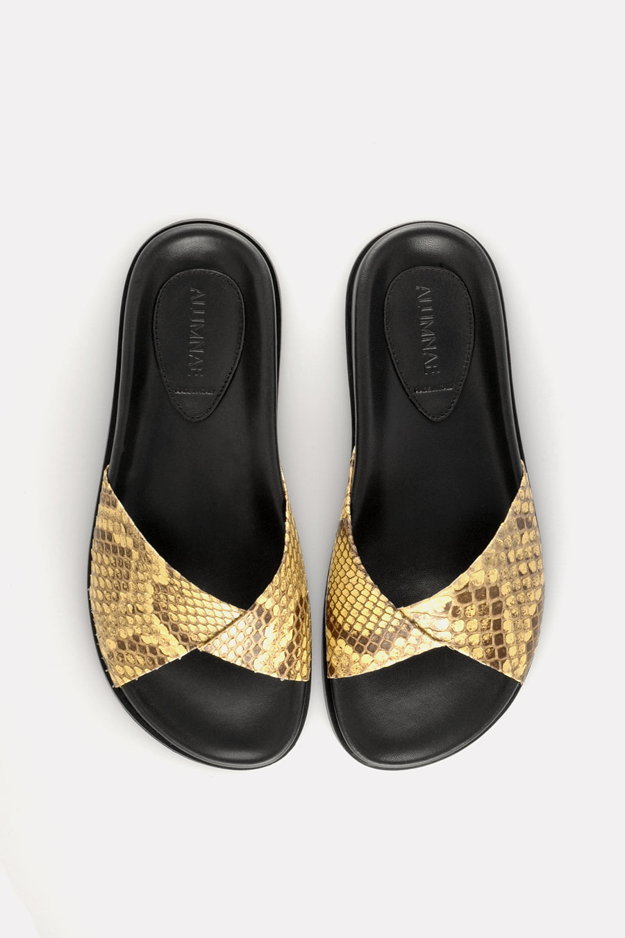 Folded Slide on Footbed Butter-Yellow Python
