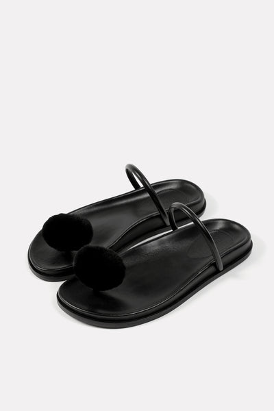 Button Thong on Footbed Black.