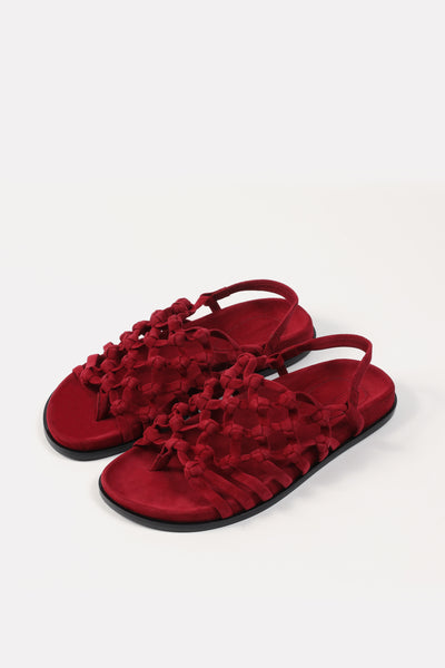 Knotted Sandal on Footbed Bordeaux Suede.