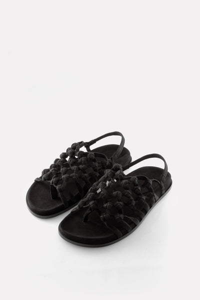 Knotted Sandal on Footbed Black Suede.