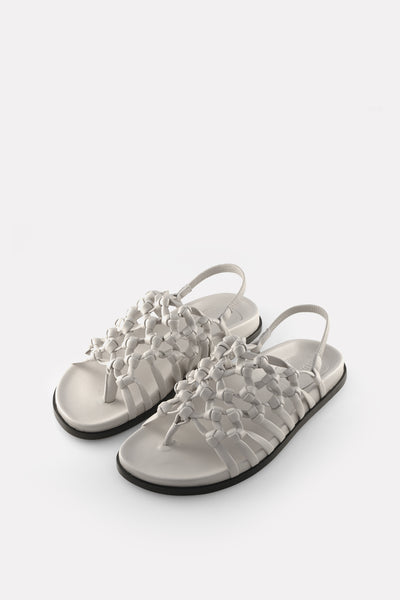 Knotted Sandal on Footbed Chalk White Nappa.