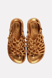 Knotted Sandal on Footbed Gold Nappa.