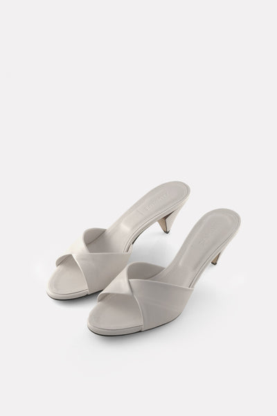 Folded Kitten Heel Mule Chalk White Nappa.