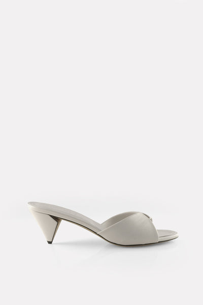 Folded Kitten Heel Mule CHALK White Nappa
