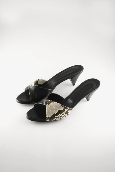 Folded Kitten Heel Mule Black Nappa with Python Detail.