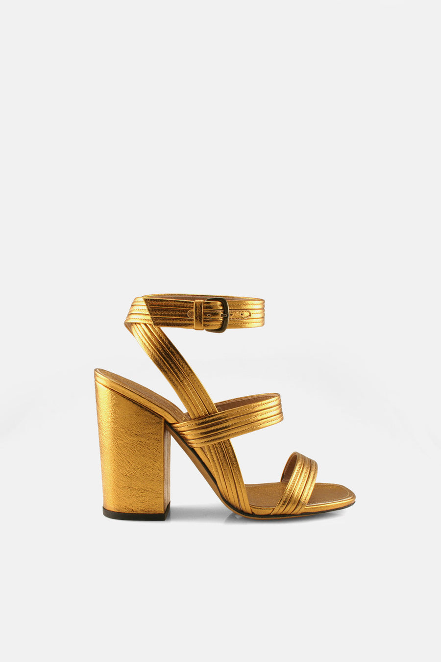 Stitched Mignon Block Heel Sandal Gold Nappa.