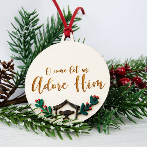Adore him wooden painted bauble decoration