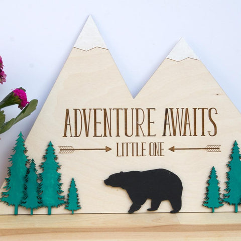 Adventure awaits wooden adventure sign - Birch and Tides