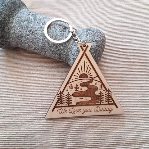 Adventure mountain we love you daddy wooden keyring - Birch and Tides