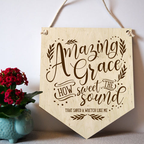 Amazing Grace hymn wooden wall banner - Birch and Tides