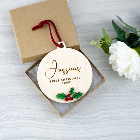 Babies first Christmas Ivy coloured ornament - Birch and Tides