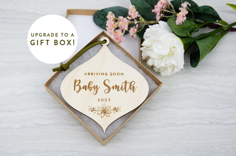 Baby announcement Christmas ornament - Birch and Tides