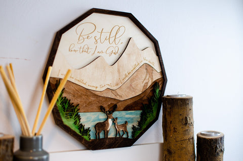 Be Still Psalm 46:10 wooden wall sign