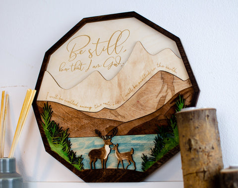 Be Still Psalm 46:10 wooden wall sign - Birch and Tides